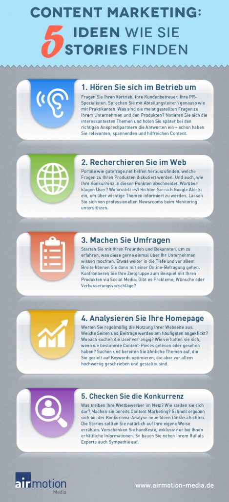 Infografik Storytelling: 5 Ideen wie Sie Storys finden - Airmotion Media