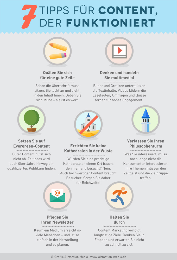 Infografik: 7 Tipps für Content, der funktioniert - Airmotion Media
