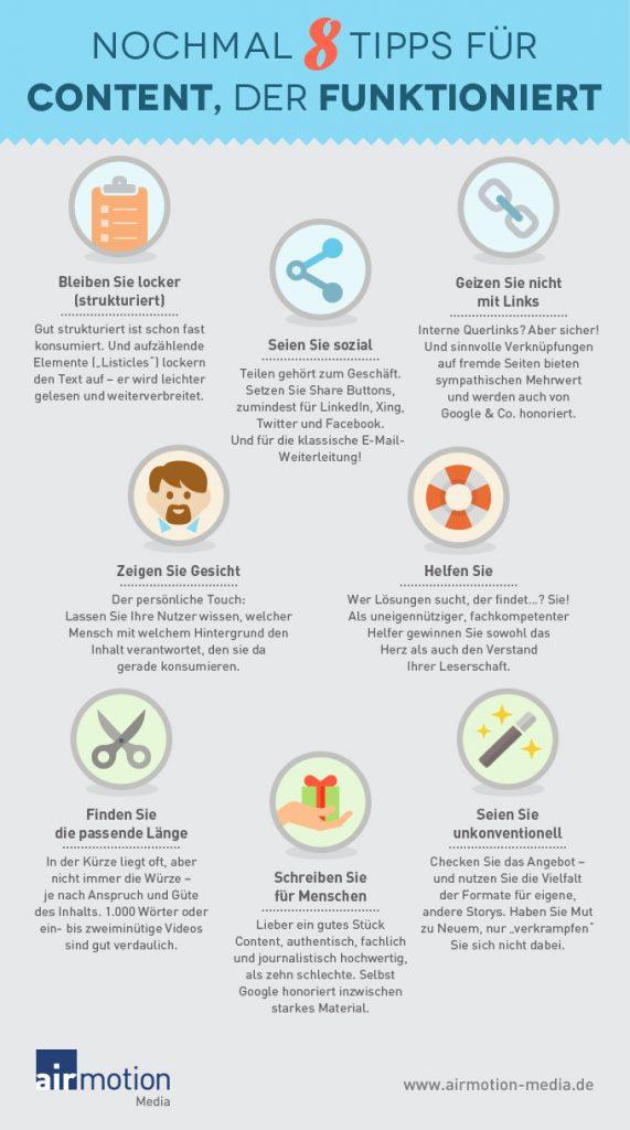 Infografik: Nochmal 8 Tipps für Content, der funktioniert - Airmotion Media