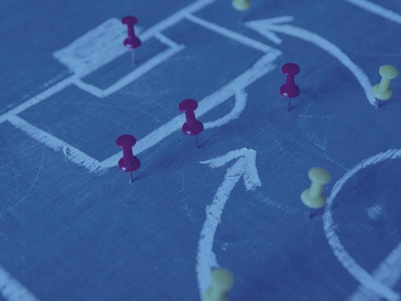 Symbolbild Contentstrategie - Fußballfeld mit Positionsmarkierungen