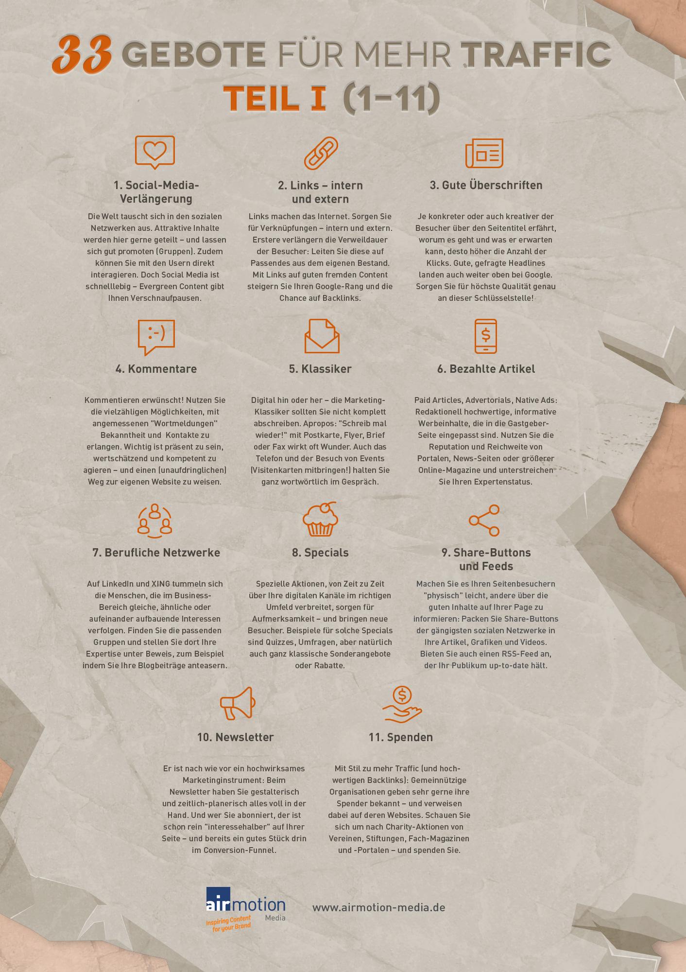 Infografik: Die ersten elf der 33 Gebote für mehr Traffic – Airmotion Media