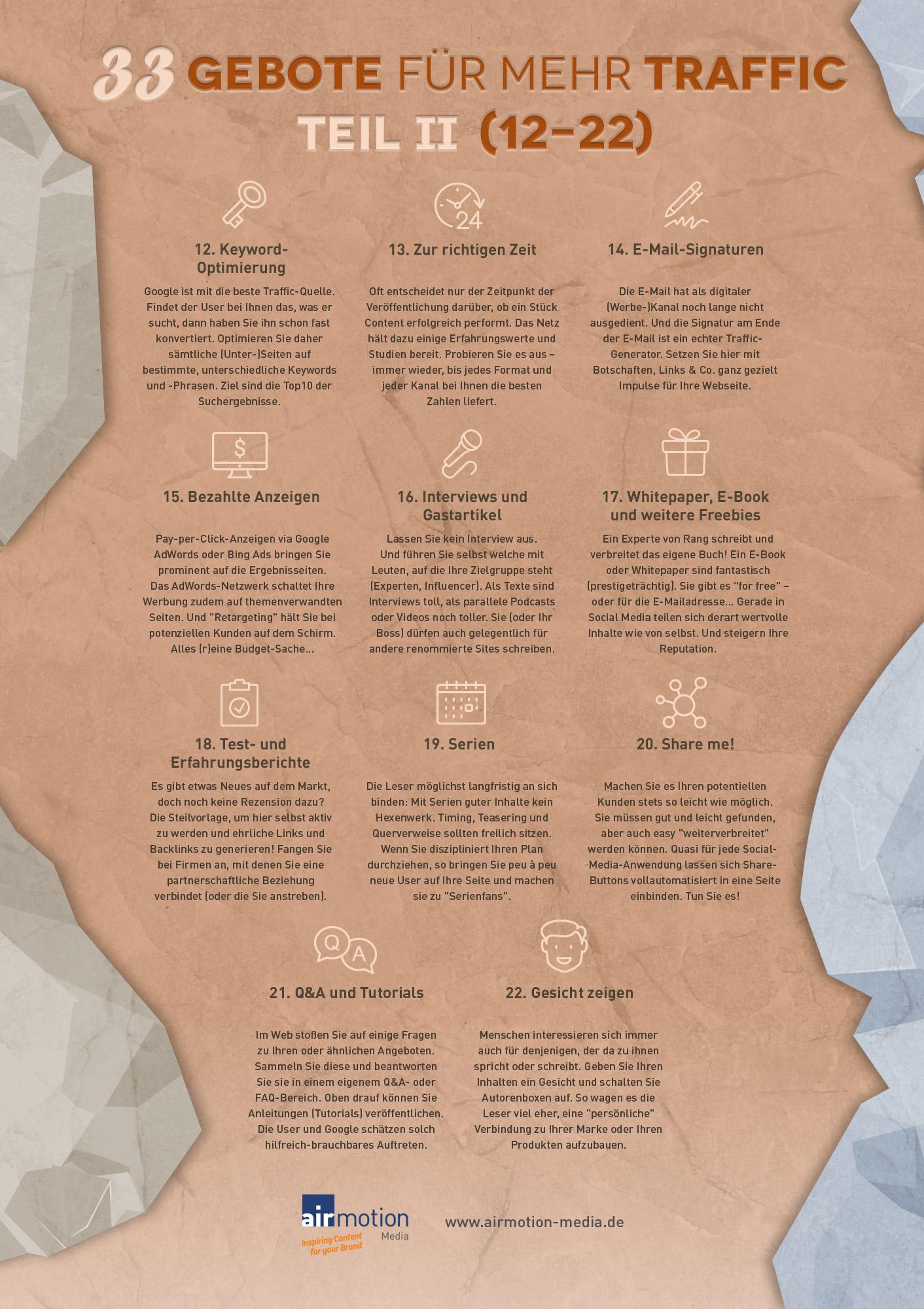 Infografik: Die zweiten elf der 33 Gebote für mehr Traffic – Airmotion Media