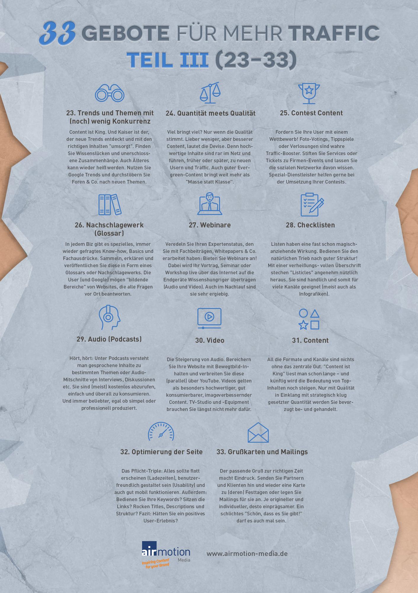 Infografik: Die finalen elf der 33 Gebote für mehr Traffic – Airmotion Media