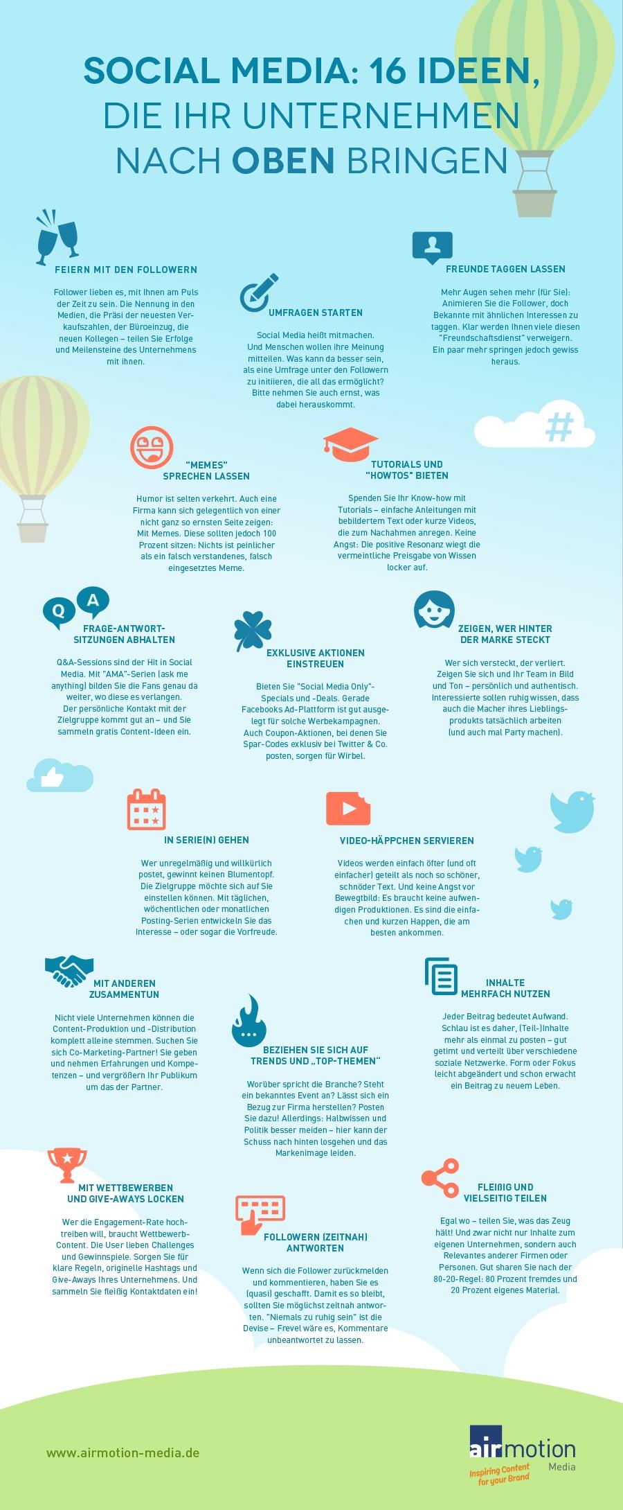 Infografik: 16 Social-Media-Ideen, die Ihr Unternehmen nach oben bringen – Airmotion Media
