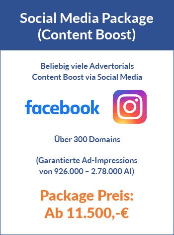 Advertorial Paket mit Social Media